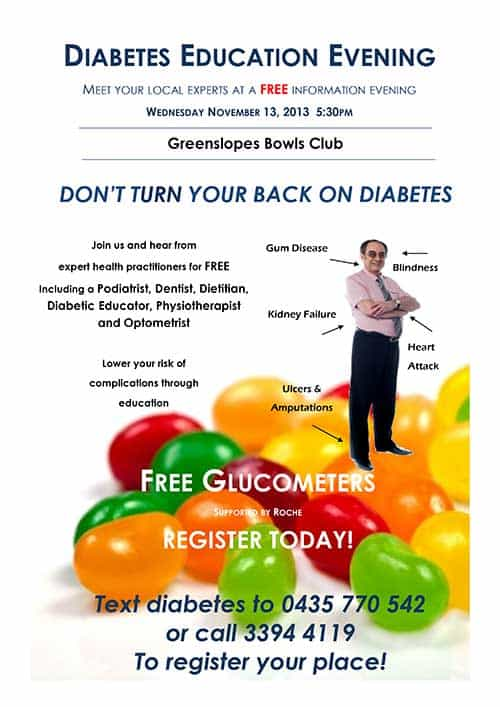 Free Diabetes Education nights in Brisbane with Simon from Bite Dental